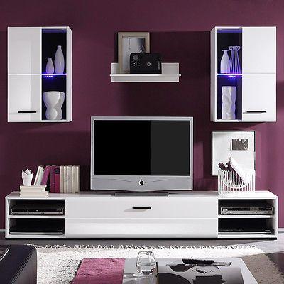 Ebay Angebot Wohnwand Final Lux Anbauwand Wohnzimmer Schrankwand In Weiss Vitrinen Mit LEDIhr QuickBerater