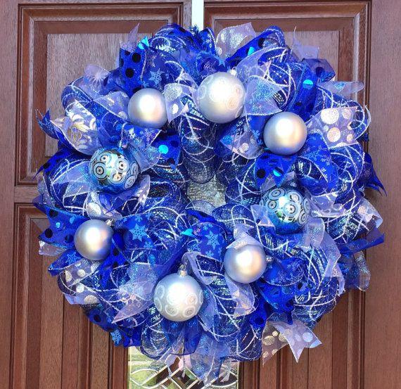 Deco Mesh Christmas Wreath Frozen Wreath Blue Silver Wreath Deco Mesh Christmas Wreaths Christmas Mesh Wreaths Silver Christmas Decorations
