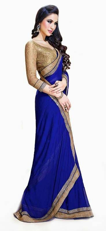 3f929cf90764d5 This blue saree will give you the beautiful and royal look you desire!! Blue  plain georgette saree with blouse #fashion #saree