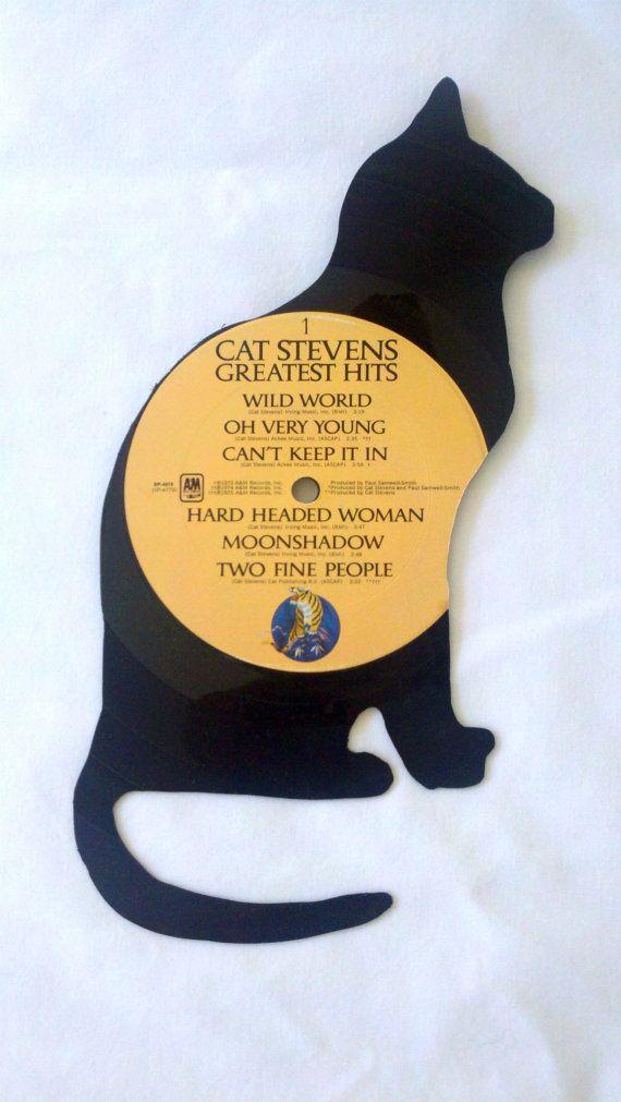 Vinyl Record Black Cat Wall Art | Typewriter keys, Scrabble tiles ...
