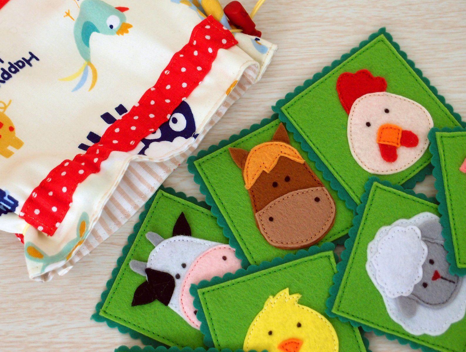 Farm Animals Memory Matching Game Felt Fabric Pairs Game ...