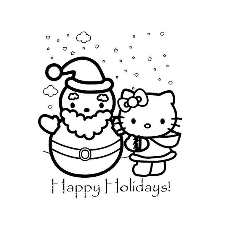 Coloriage de Noel de Hello Kitty | Baby cartoon Characters | Pinterest