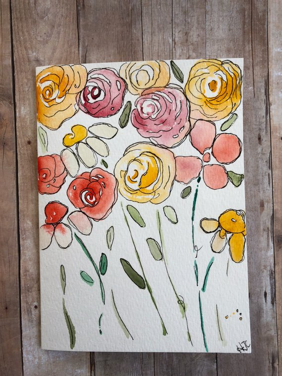 Watercolor Cards Hand Painted Flower Cards Homemade Cards This