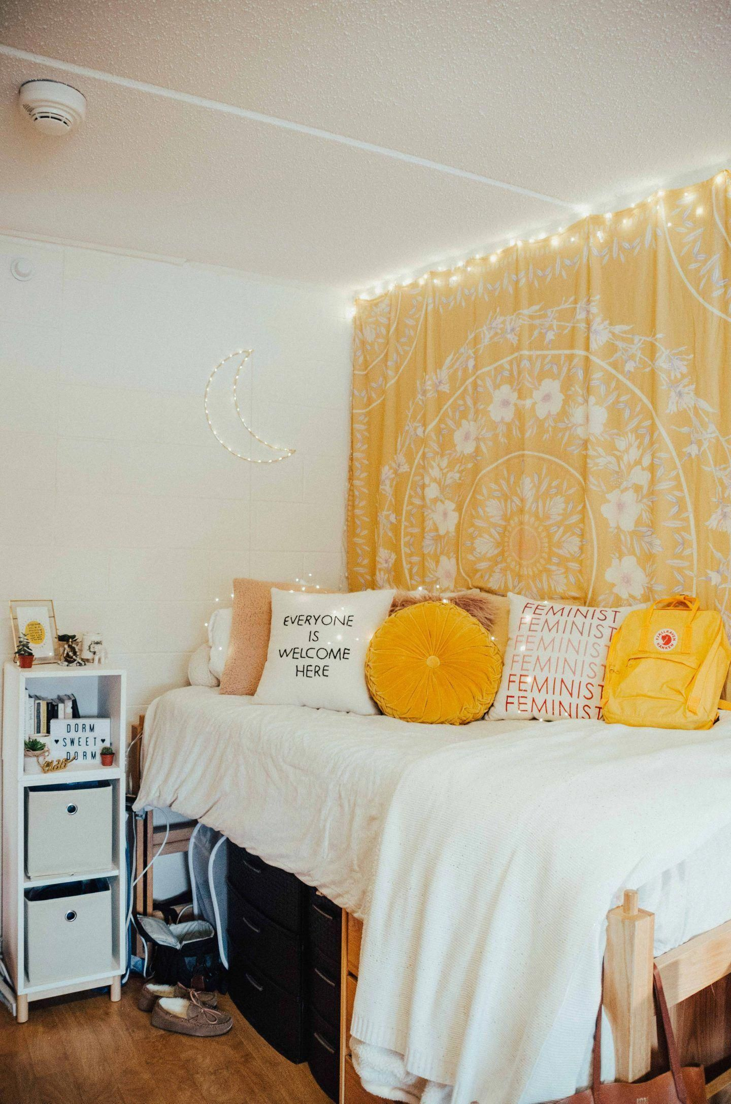 Pin Insta Kaelimariee Guest Bedroom Gray White And Yellow Guest Bedroom Bedroomcolorideas Dorm Room Inspiration Dorm Room Designs Yellow Bedroom Decor