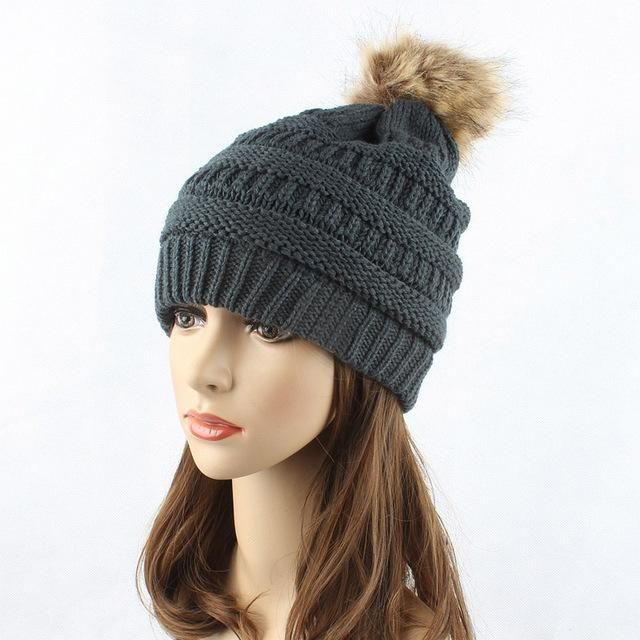 e3802ad5768 MAITRI 2017 New Adult Winter Beanie Hat Fashion Men Women Double Layer Wool  Thick Lining Fur Ball Knit Pom Poms Cap