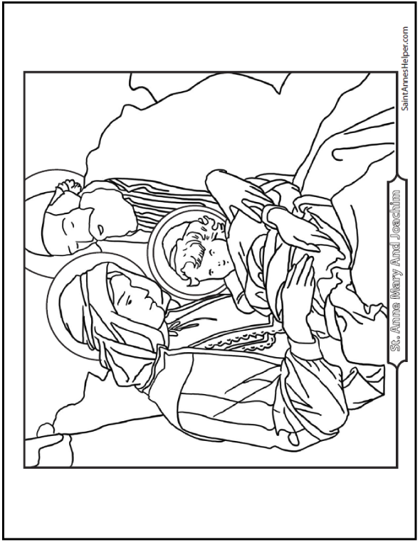 SaintAnnesHelper Has A Sweet Saints Joachim And Anne Coloring Page They Are Holding Mary