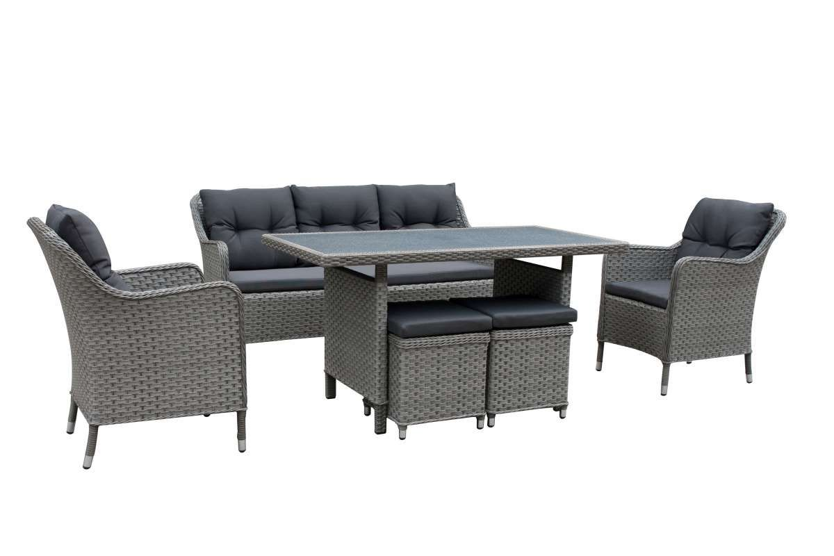 DAVOS Polyrattan Lounge Gartenmöbel Sitzgruppe grau | Pinterest ...