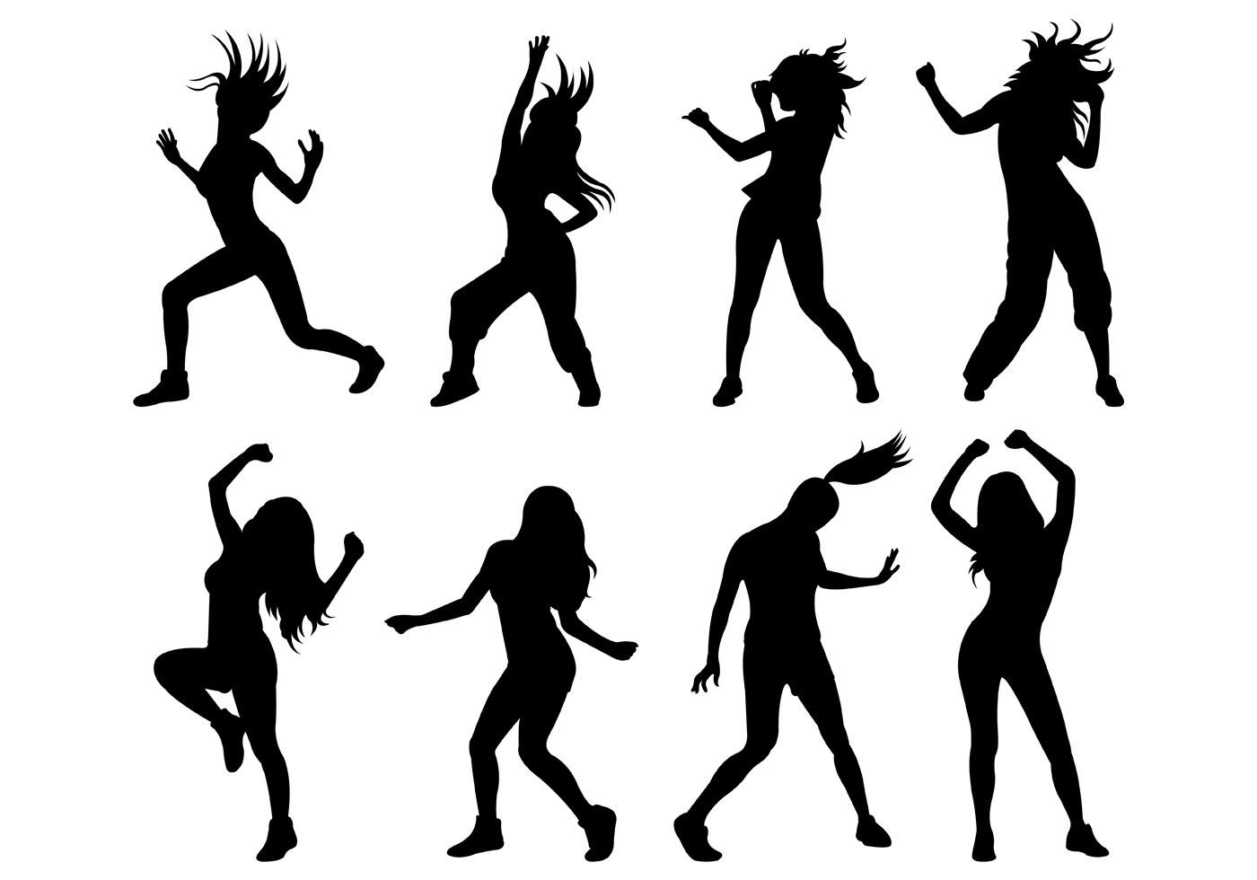Set of zumba silhouettes vector choose from thousands of