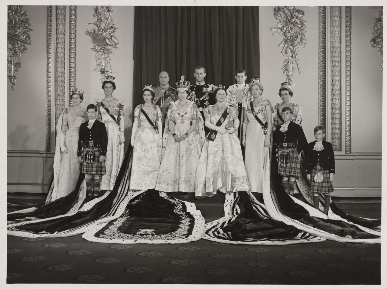 The British royal family at Queen Elizabeth II's coronation. 1953. Group includes: Princess Alexandra of Kent, Prince Michael of Kent, Princess Marina (Duchess of Kent), Prince Henry (Duke of Gloucester), Princess Margaret, Queen Elizabeth II, Prince Philip, Queen Elizabeth the Queen Mother, Prince Edward of Kent, Princess Mary (Countess of Harewood), Prince William of Gloucester, Prince Richard of Gloucester and Princess Alice (Duchess of Gloucester).