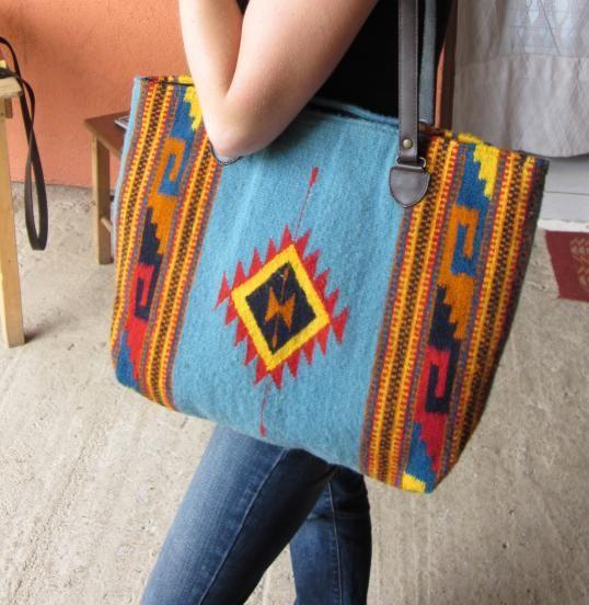 GlobeIn: #Handmade woven tote bag-- Blue Wool #bag #boho #fashion #her