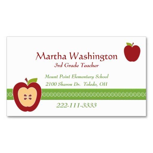 Half Apple Teacher S Business Card Zazzle Com Teacher Business Cards Teacher Apple Customizable Business Cards