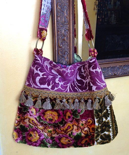 RESERVED FOR SUE Large Carpet Bag With Purple by Justbepurses