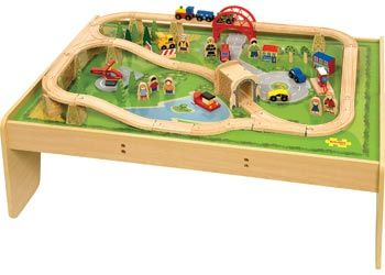 Jigs Wooden Train Set Complete With And Table Painted Top