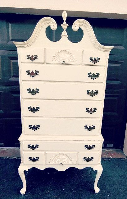 QUEEN ANNE HIGH BOY DRESSER Antique circa 1950s Queen Anne ...