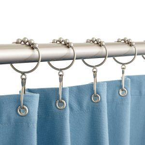 Brushed Nickel Ball Shower Curtain Hooks Silver Shower Curtain
