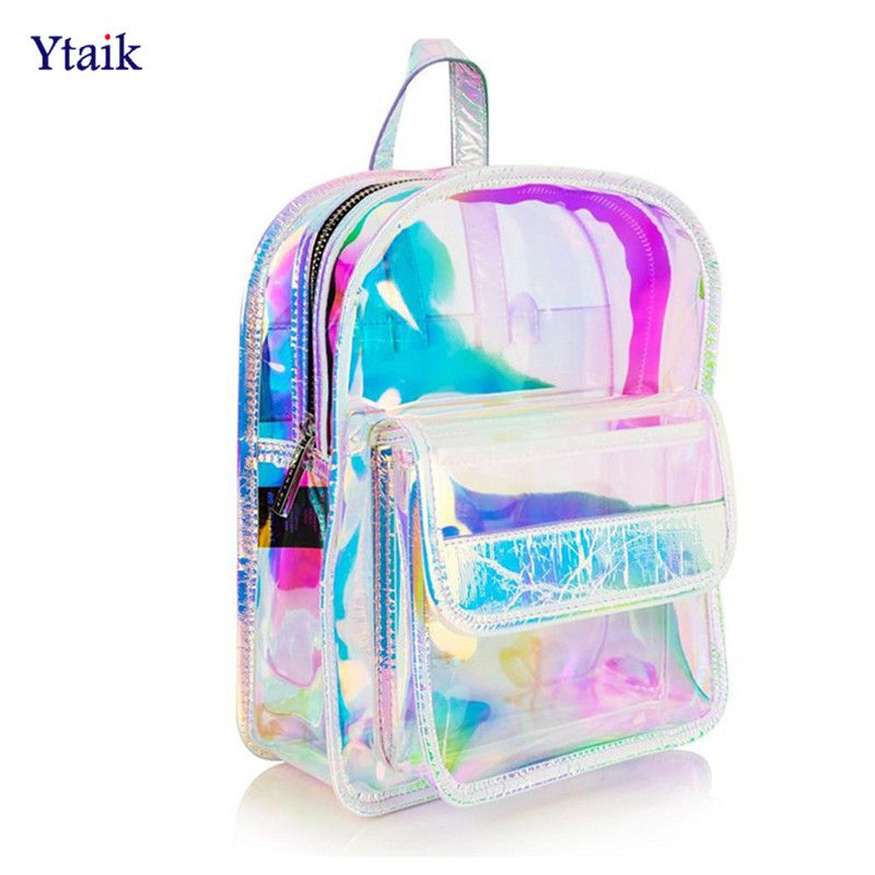 040c9d04b8f9 Laser Transparent Backpack Hologram Women Girls Backpack Clear Daily ...