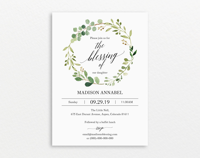 Greenery Blessing Invitation Template Printable Blessing Etsy In 2021 Invitation Template Invitations Baptism Invitations