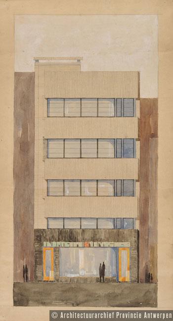 Knokke, Albert Plage, ontwerp winkelhuis P. Plein (1924).   photo credit: Architectuurarchief Provincie Antwerpen, found on the website: http://www.debalansvanbraem.be