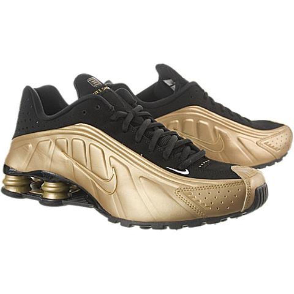 new concept e7f1b c525b nike shox r4 gold Nike Shox R4 Metallic Gold Metallic Gold-Black-White ...