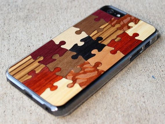 Puzzle iPhone 5/5s Wood Clear Case  FREE by carvedproducts on Etsy, $29.00
