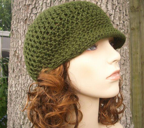 Crochet Hat Womens Hat Green Newsboy Hat  Skater Boy by pixiebell