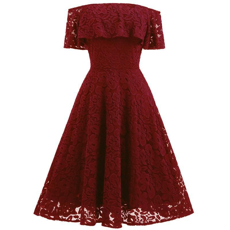 Photo of Solid Color Off Shoulder Short Sleeves Short Lace Dress