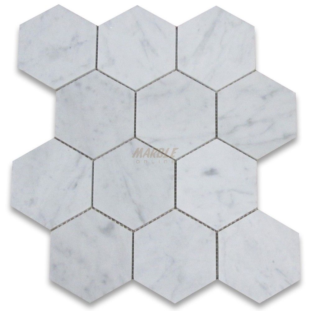 Carrara White 4 inch Hexagon Mosaic Tile Honed - bathroom floor ...