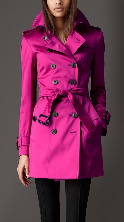 c8731f8ba0 Burberry London Magenta Pink Mid-Length Trench Coat Trench Coats