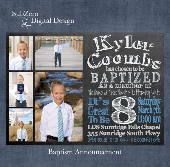 LDS Chalkboard Baptism Invitation or Announcement for Boys