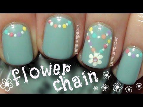 ❀ Flower Chain Nail Art Tutorial ✼