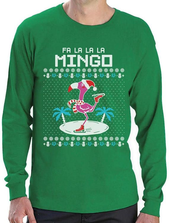 fa la la flamingo ugly christmas sweater funny xmas long