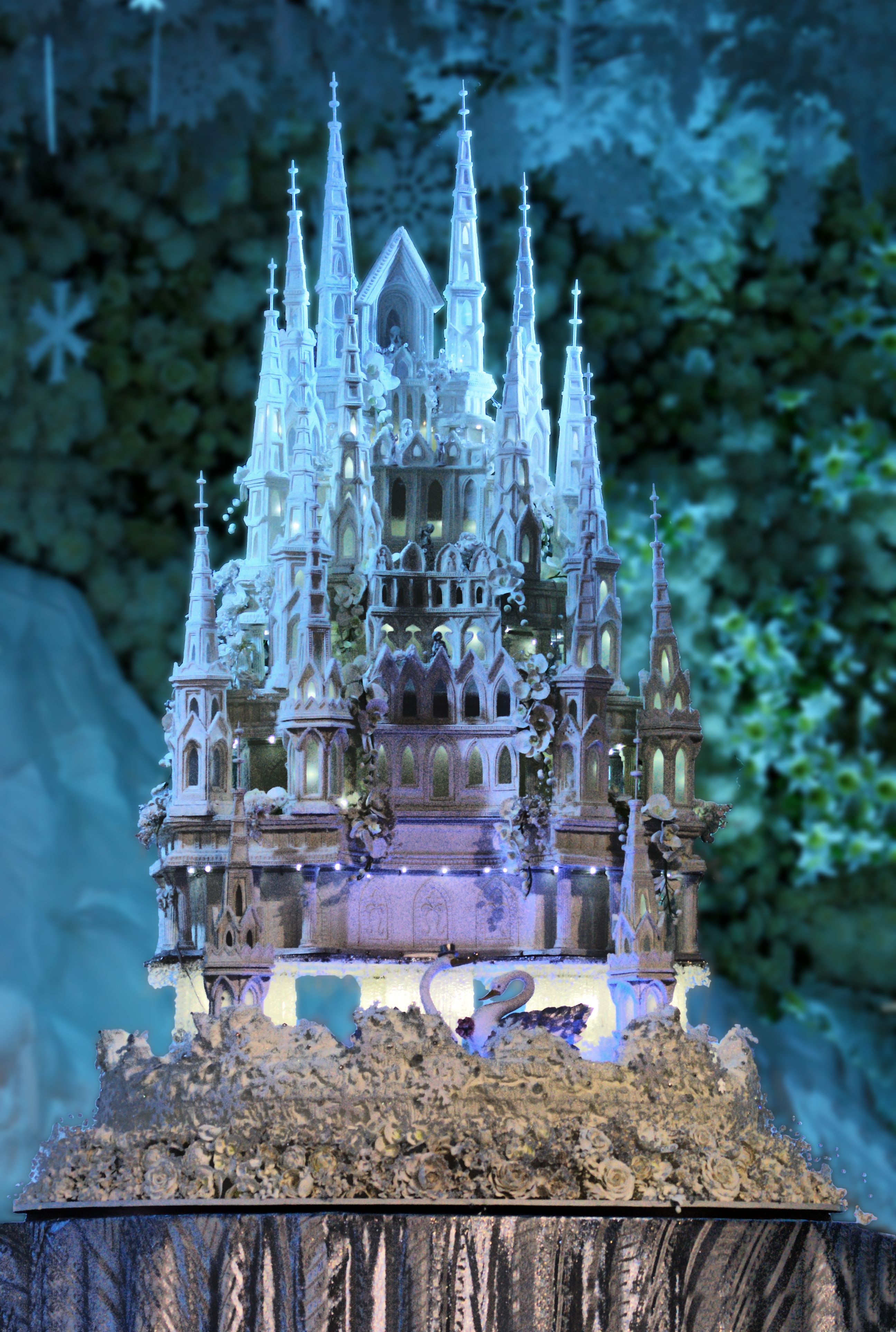 An amazing 3 meters high Ice Castle wedding cake by