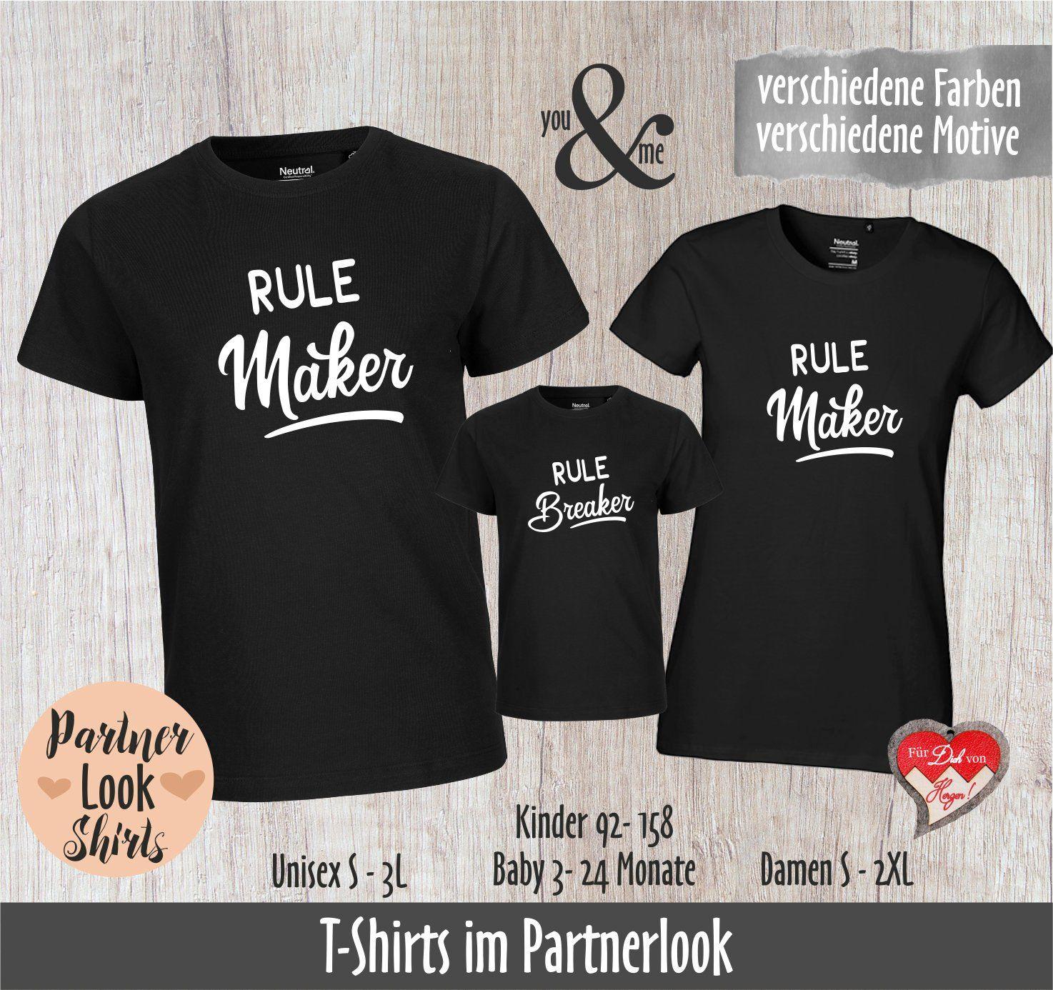 Partnerlook Shirts; Rulemaker, Rulebreaker, Familien T