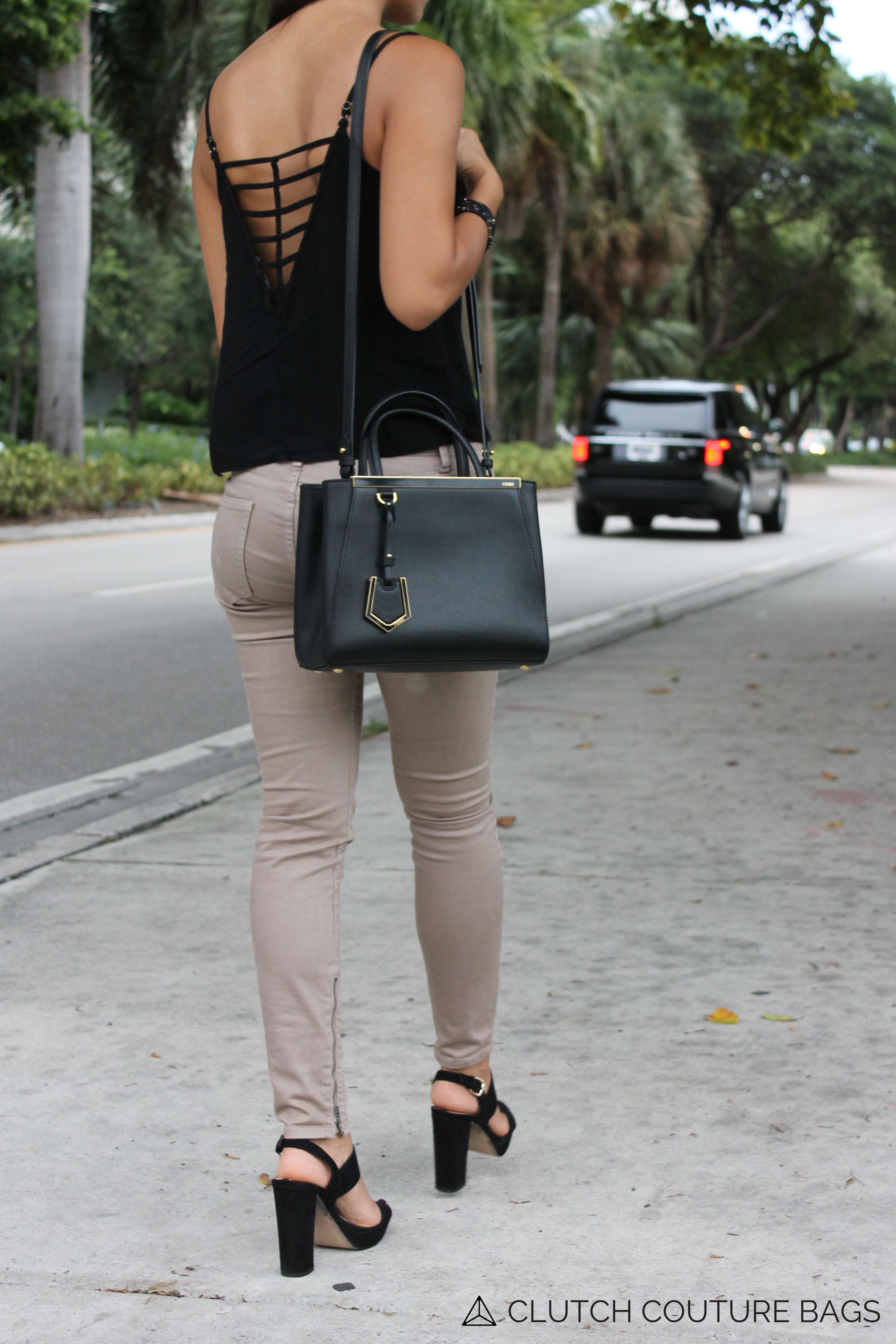 b578b7e26ef4 Fendi 2 Jours street style. The Fendi 2Jours bag is available to rent from Clutch  Couture Bag with both weekly and monthly rentals.