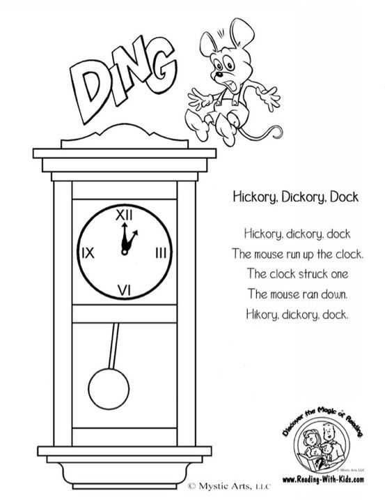 Hickory Dickory Dock Coloring Page Nursery Rhymes Activities