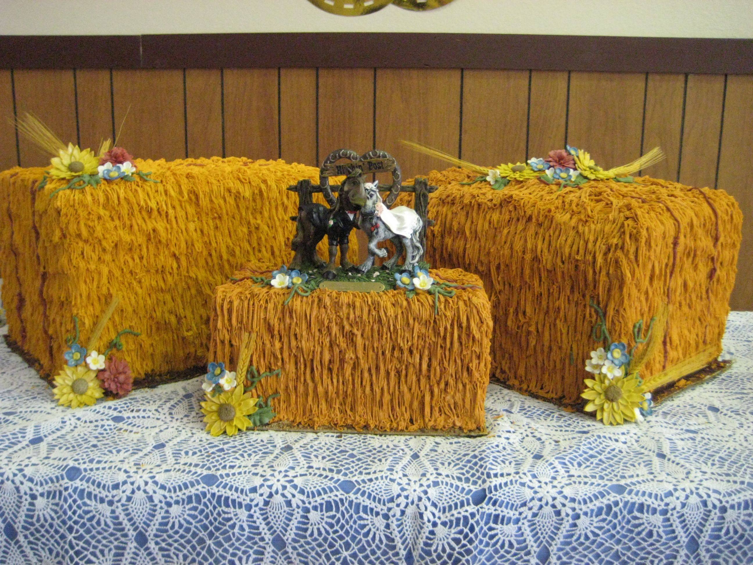 Hay Bale Wedding Cake -   cake is a double layer o.  Eacn top of a block of styrofoam in order to get the correct dimensions.  The flowers are made from gum paste.