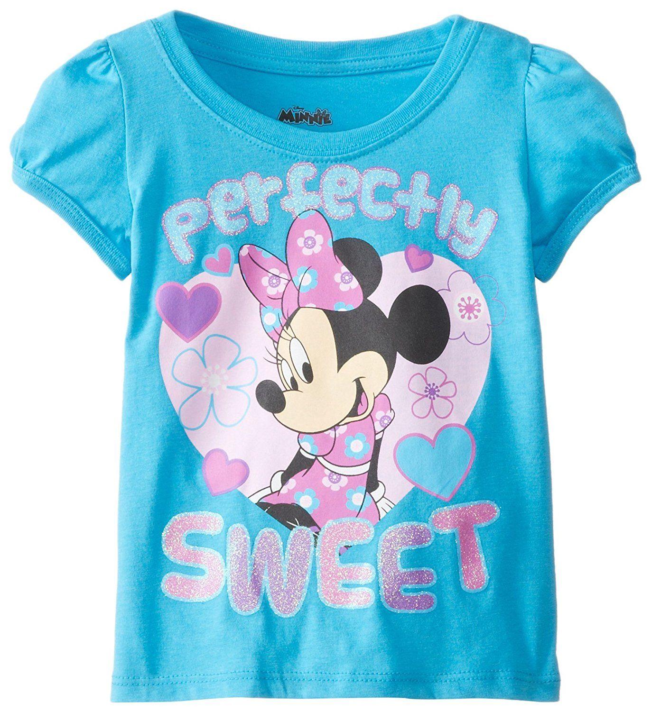 Amazoncom Disney Girls Minnie Mouse T Shirt Light Blue And Pink