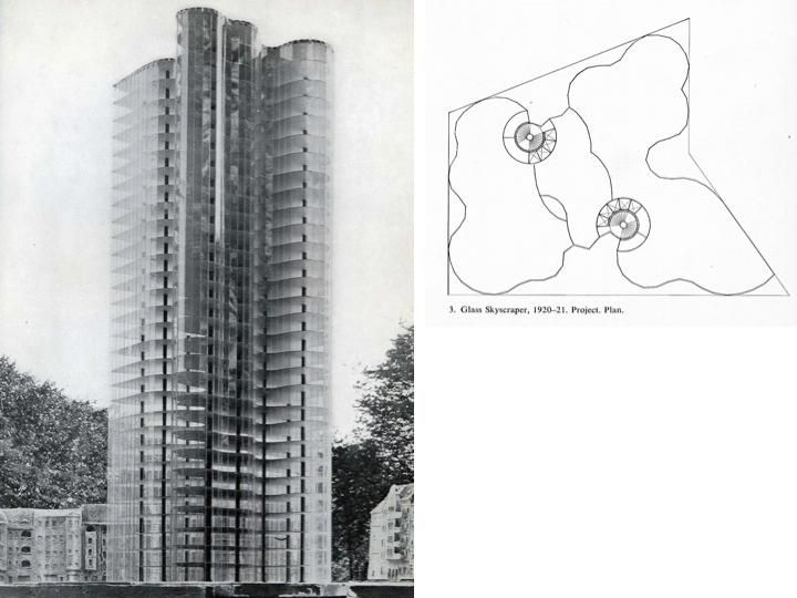 "model image + slippery floor plan - ""Glashochhaus"" (glass skyscraper) - Mies van…"
