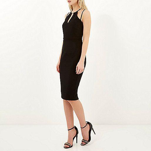 Black strappy bodycon pencil dress