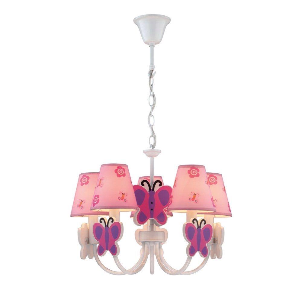 Lite Source Farfalla Chandeliers White Pink Purple Ik 1003