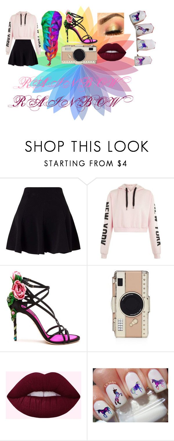 """""""RAINBOW!!!!!!!!!!!!!!!!"""" by flossythebunny ❤ liked on Polyvore featuring Miss Selfridge, Dolce&Gabbana and Kate Spade"""