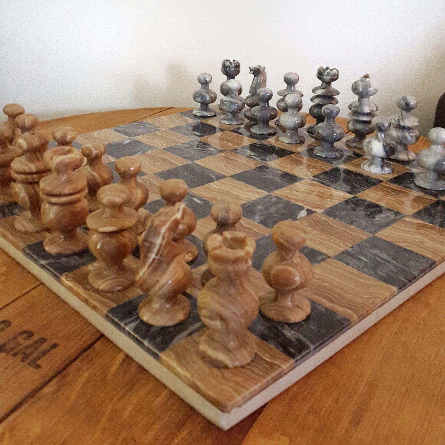 Vintage Stone Chess Set Grey And Brown Onxy Marble Chess Board With Pieces Hand Carved Stone Stone Chess Set Marble Chess Set Chess Set