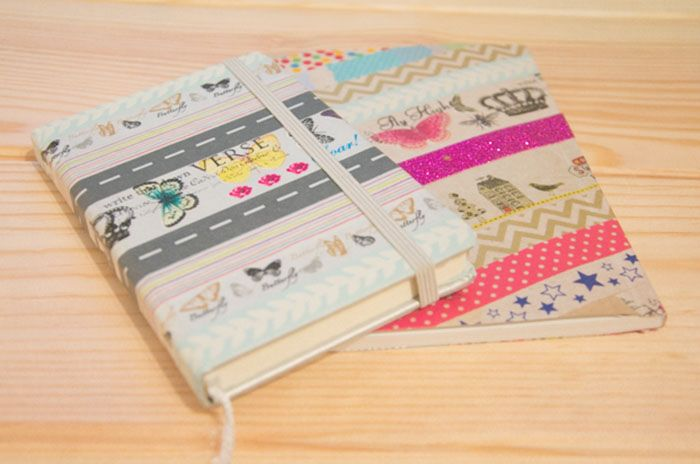 Como decorar cuadernos b sicos y convertirlos en cuadernos preciosos con washi tape cuadernos - Decorar con washi tape ...