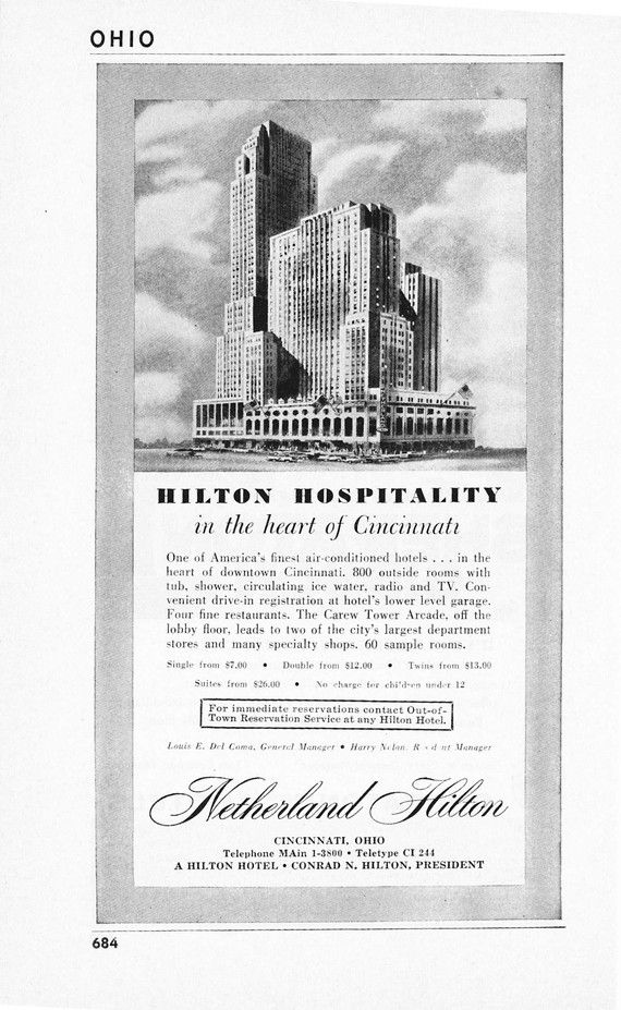 1950s hotel advertisement netherland hilton cincinnati ohio 1950s hotel advertisement netherland hilton cincinnati ohio vintage antique retro 50s era pop art ad for framing 50 years old malvernweather Choice Image