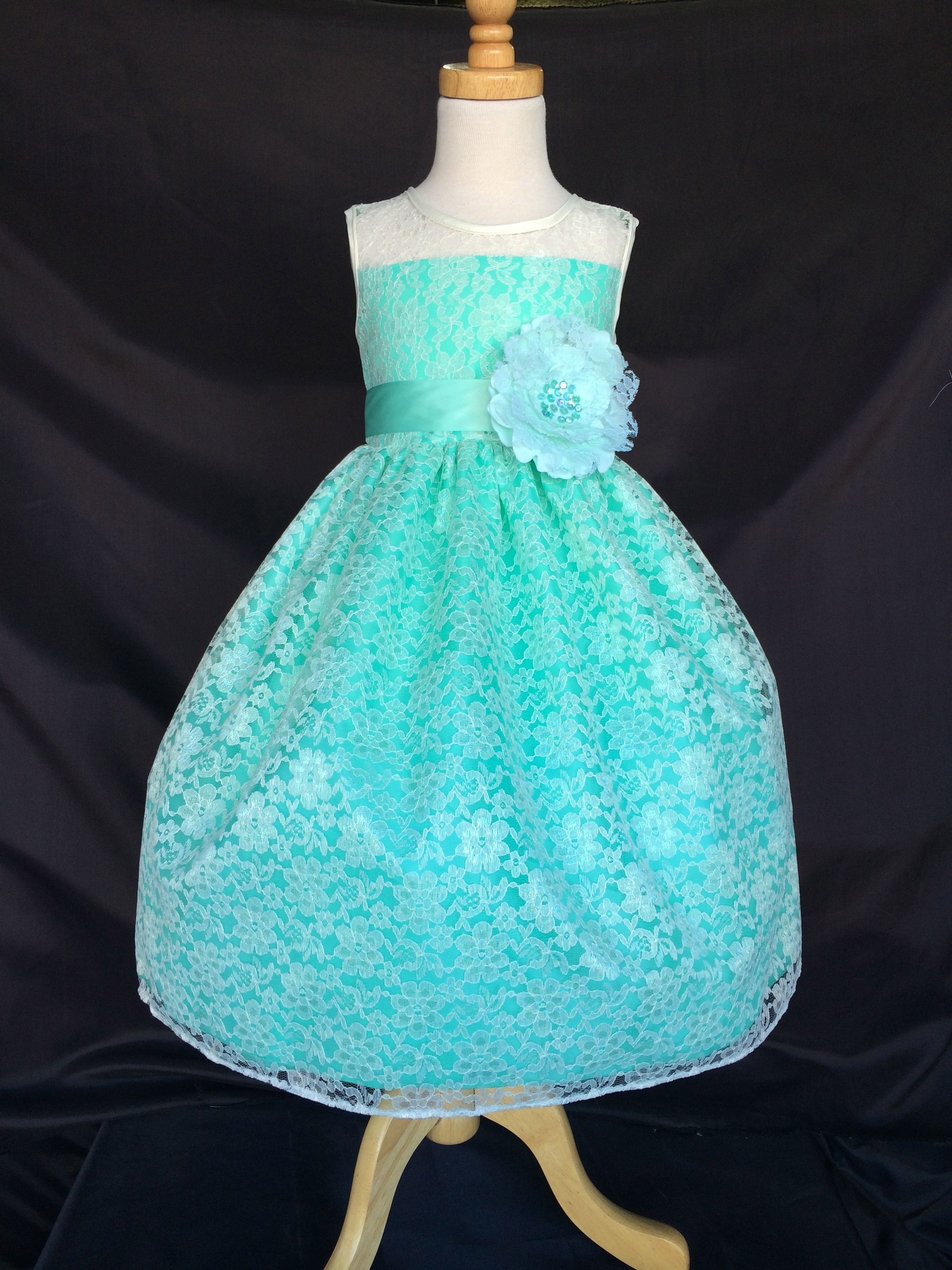Flower Girl Bridesmaids Ivory Lace Dress Beautiful more colors on ...
