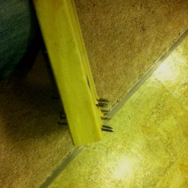 Homemade Carpet Stretcher I Used A Reversed Clamp To Push The Board To Stretch The Carpet Carpet Stretcher Carpet Handyman