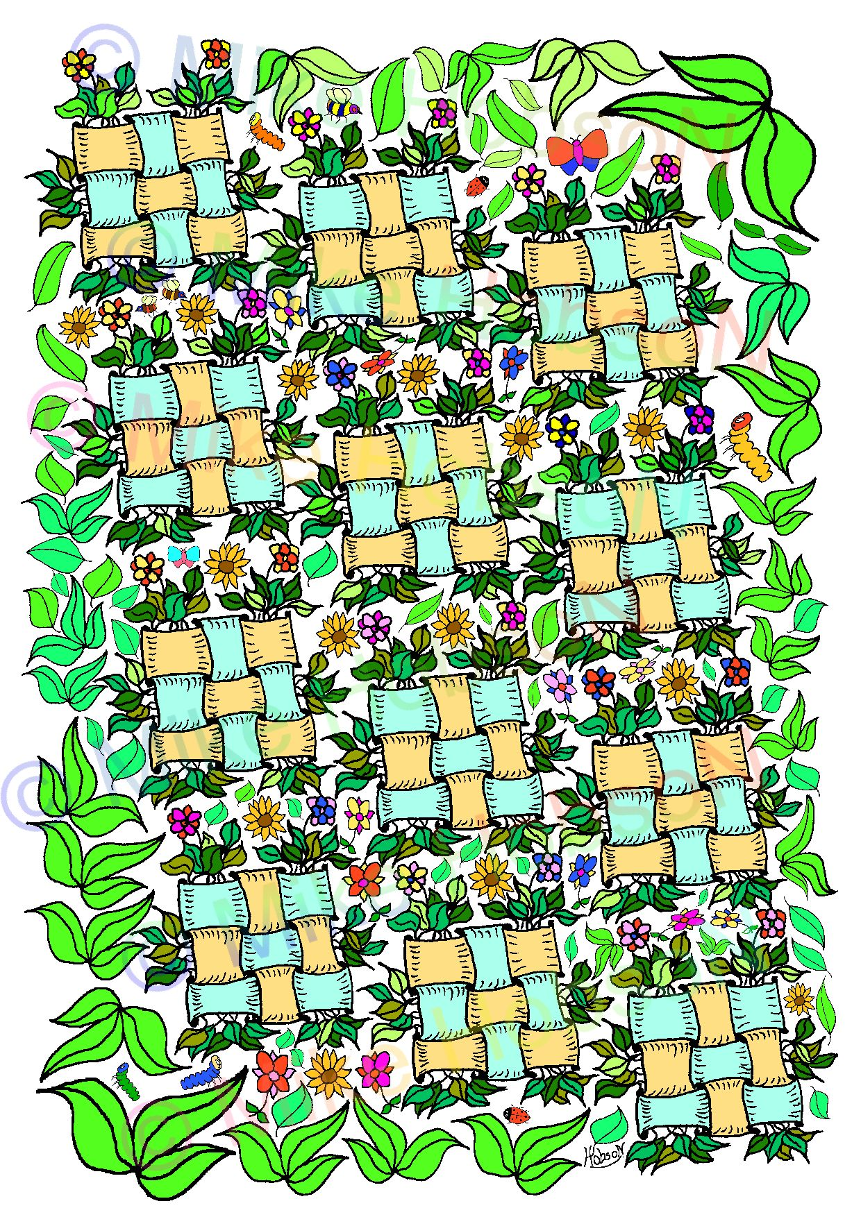 Flower Weave Colouring Sheet