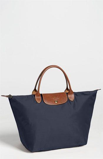 $115, Navy Canvas Tote Bag: Longchamp Le Pliage Tote Navy