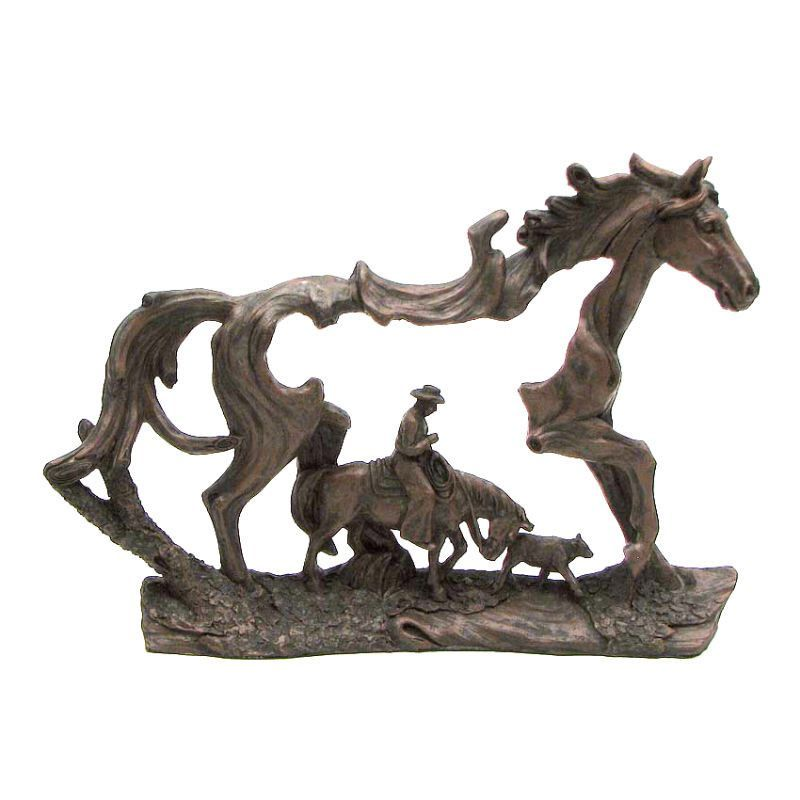 Carved wood look that is bronzed for an authentic western art look ...