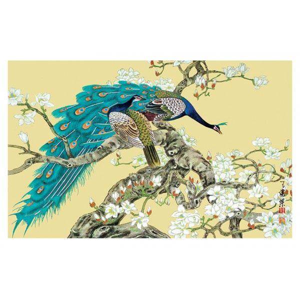chinese wallpaper papier peint chinois Les paons et les magnolias ...